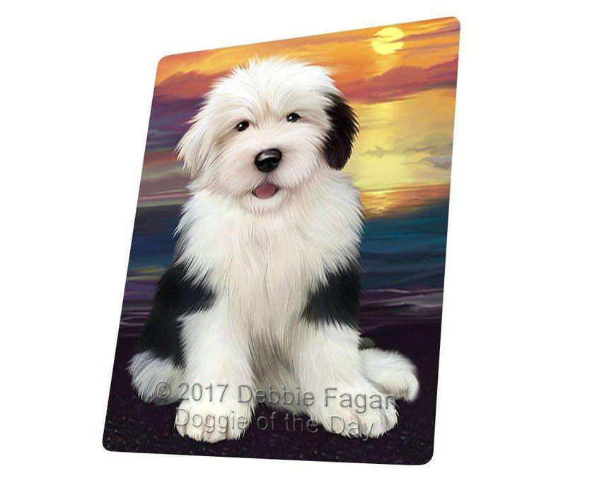 Old English Sheepdog Dog Art Portrait Print Woven Throw Sherpa Plush Fleece Blanket D413