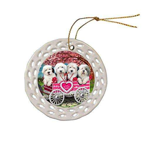 Old English Sheepdog Dog Christmas Doily Ceramic Ornament