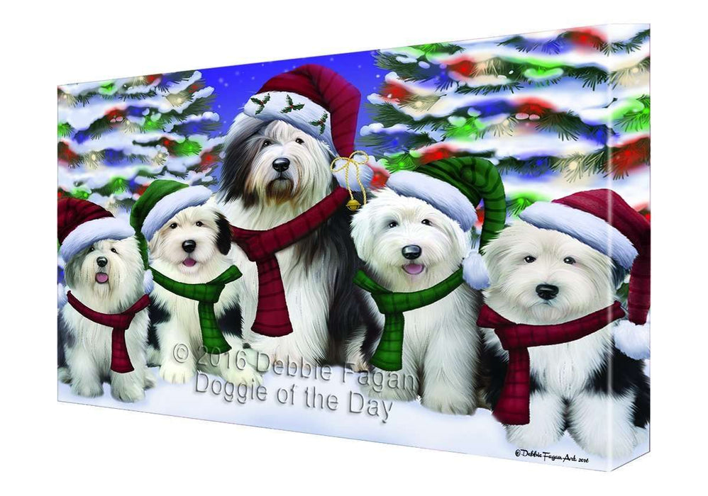 Old English Sheepdog Dog Christmas Family Portrait in Holiday Scenic Background Canvas Wall Art