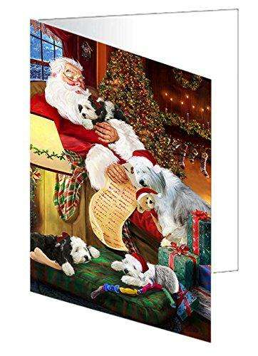 Old English Sheepdog Dogs and Puppies Sleeping with Santa Greeting Card