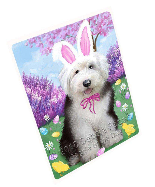 Old English Sheepdog Easter Holiday Tempered Cutting Board C51849