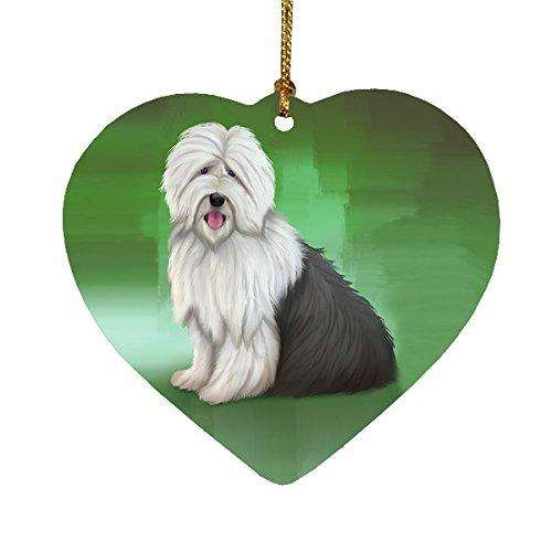 Old English Sheepdog Heart Christmas Ornament HPOR48006