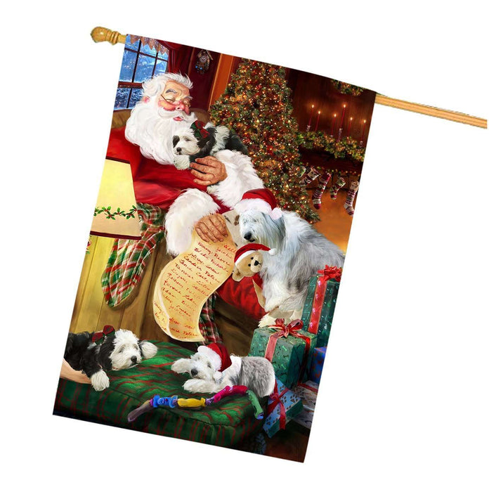 Old English Sheepdogs Dog and Puppies Sleeping with Santa House Flag