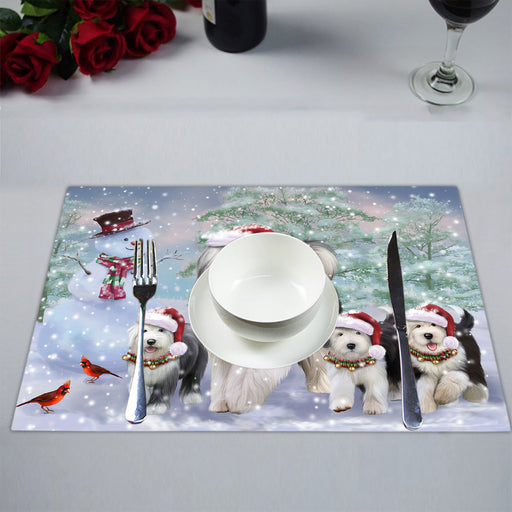 Christmas Running Fammily Old English Sheepdogs Placemat