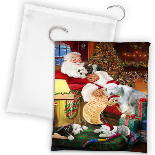 Santa Sleeping with Orange Tabby Cats Drawstring Laundry or Gift Bag LGB48831