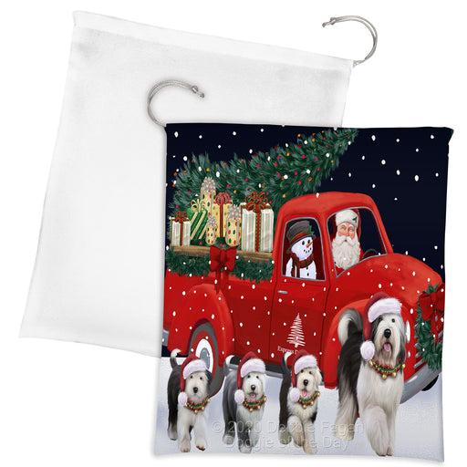 Christmas Express Delivery Red Truck Running Old English Sheepdogs Drawstring Laundry or Gift Bag LGB48914