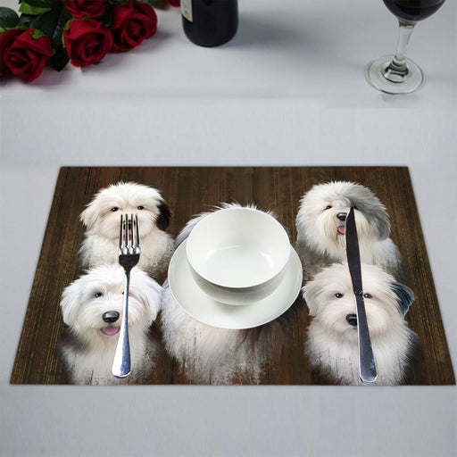 Rustic Old English Sheepdogs Placemat