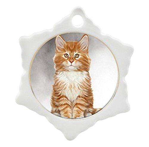 Orange and White Maine Coon Kitten Cat Art Portrait Print Christmas Holiday Orna