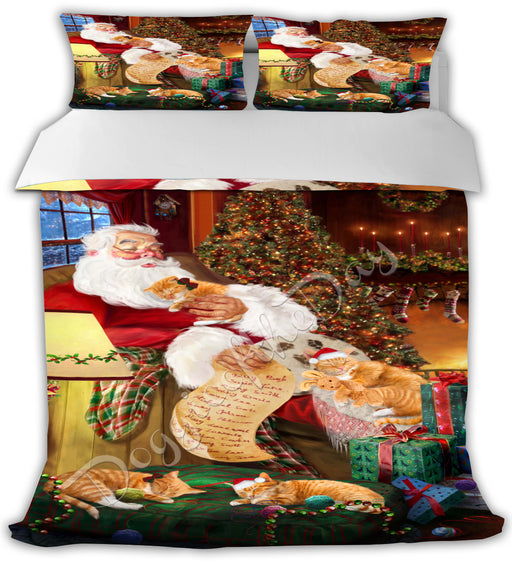 Santa Sleeping with Orange Tabby Cats Bed Comforter CMFTR49799