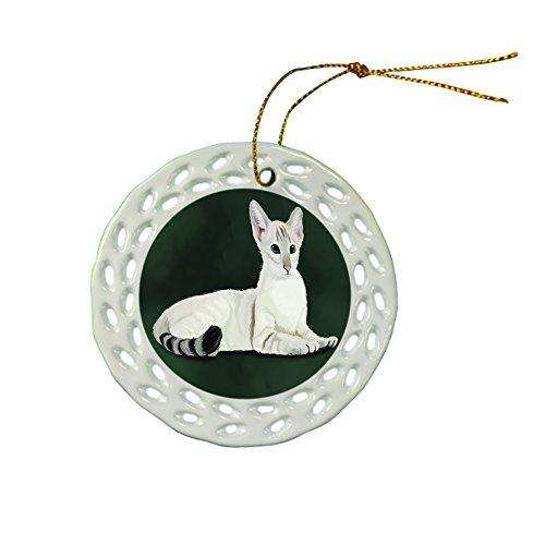 Oriental Blue Point Siamese Cat Christmas Doily Ceramic Ornament