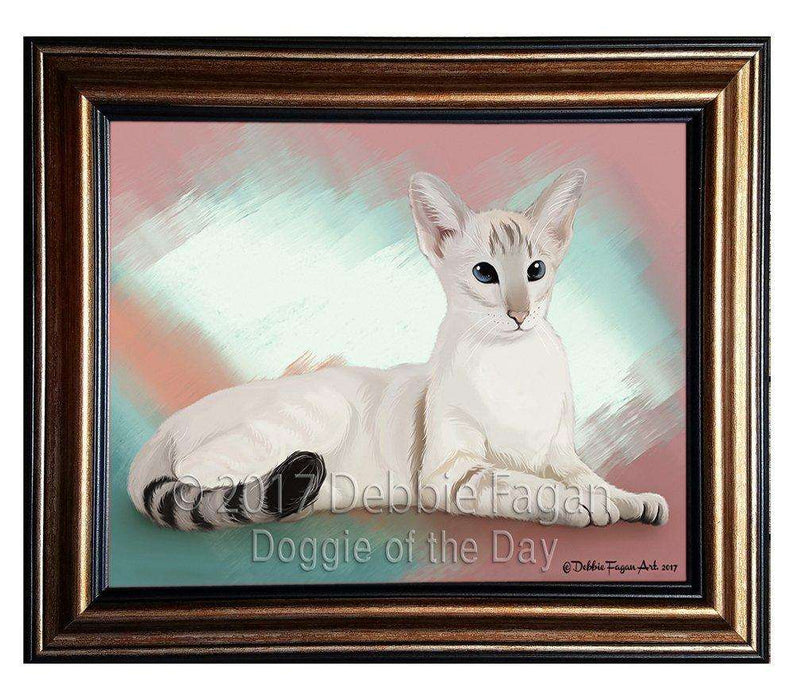 Oriental Blue-Point Siamese Cat Framed Canvas Print Wall Art BRFRMCVS48136