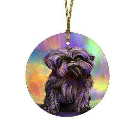Pardise Wave Affenpinscher Dog Round Flat Christmas Ornament RFPOR53582