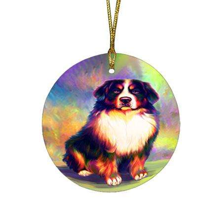 Pardise Wave Bernese Mountain Dog Round Flat Christmas Ornament RFPOR53585