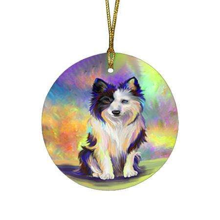 Pardise Wave Border Collie Dog Round Flat Christmas Ornament RFPOR53587