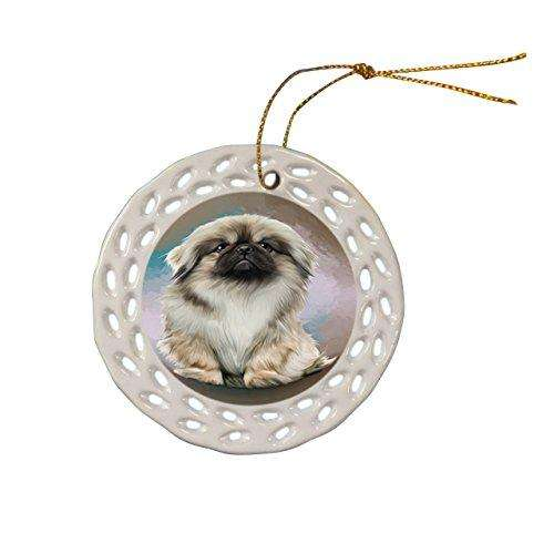 Pekingese Dog Christmas Doily Ceramic Ornament