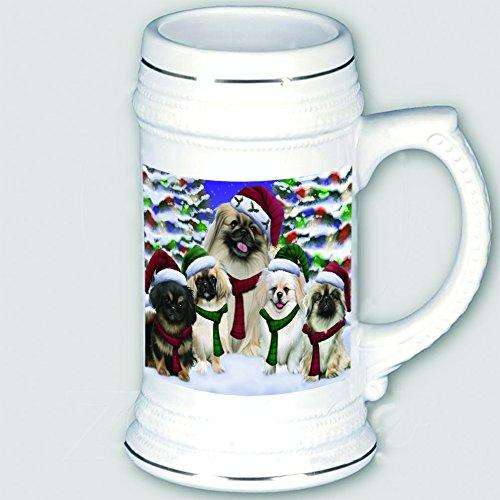 Pekingese Dog Christmas Family Portrait in Holiday Scenic Background Beer Stein