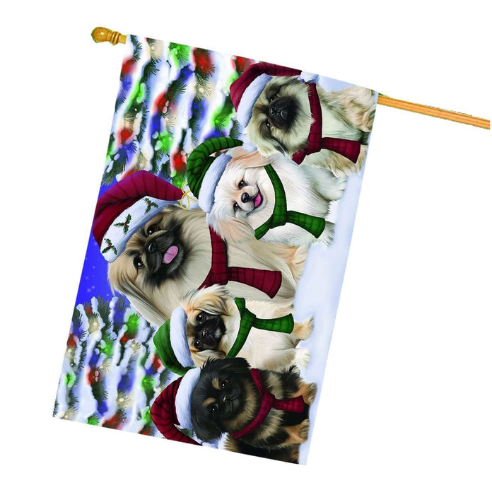 Pekingese Dog Christmas Family Portrait in Holiday Scenic Background House Flag
