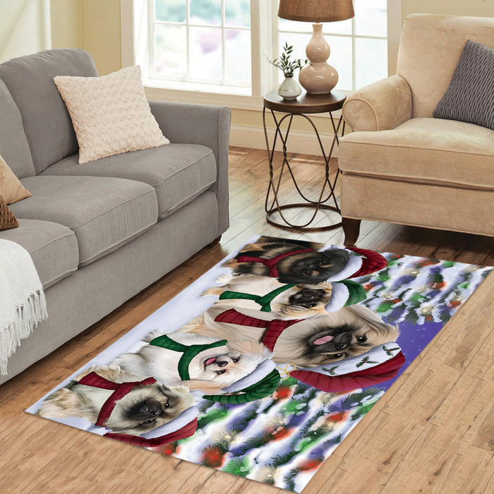 Pekingese Dogs Christmas Family Portrait in Holiday Scenic Background Area Rug