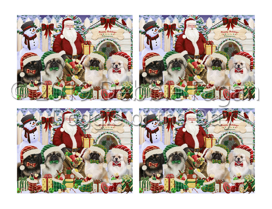 Happy Holidays Christmas Pekingese Dogs House Gathering Placemat