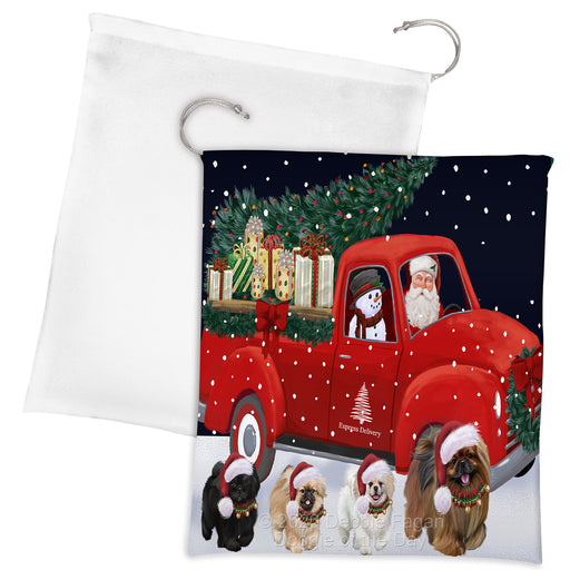 Christmas Express Delivery Red Truck Running Pekingese Dogs Drawstring Laundry or Gift Bag LGB48916