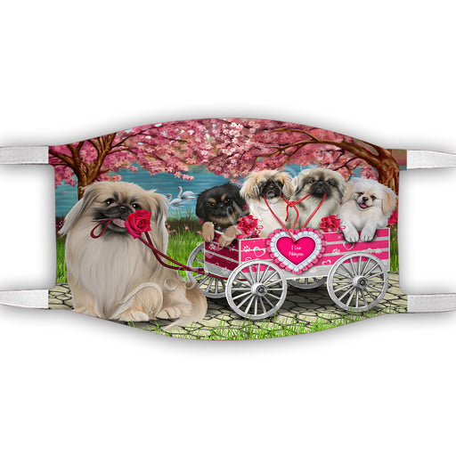 I Love Pekingese Dogs in a Cart Face Mask FM48166
