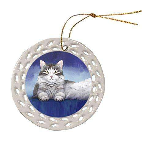 Persian Cat Ceramic Doily Ornament DPOR48030