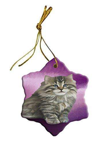 Persian Cat Christmas Snowflake Ceramic Ornament