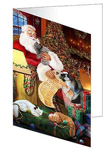 Persian Cats and Kittens Sleeping with Santa Greeting Card