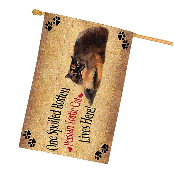 Persian Tortie Spoiled Rotten Cat House Flag