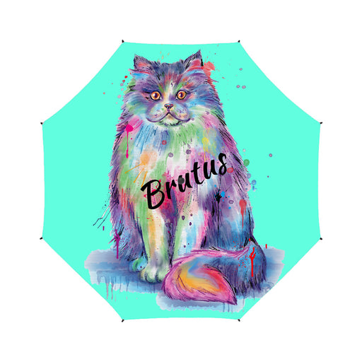 Custom Pet Name Personalized Watercolor Persian CatSemi-Automatic Foldable Umbrella