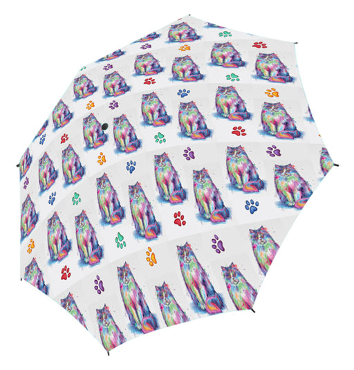 Watercolor Mini Persian CatsSemi-Automatic Foldable Umbrella