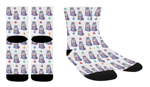Watercolor Persian Cats Women's Socks