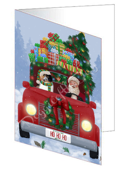 Christmas Honk Honk Red Truck Here Comes with Santa and Persian Cat Note Card NCD75617
