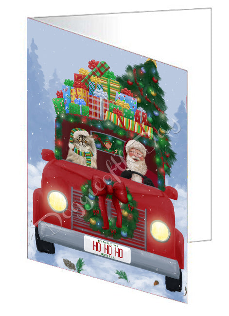Christmas Honk Honk Red Truck Here Comes with Santa and Persian Cat Note Card NCD75623