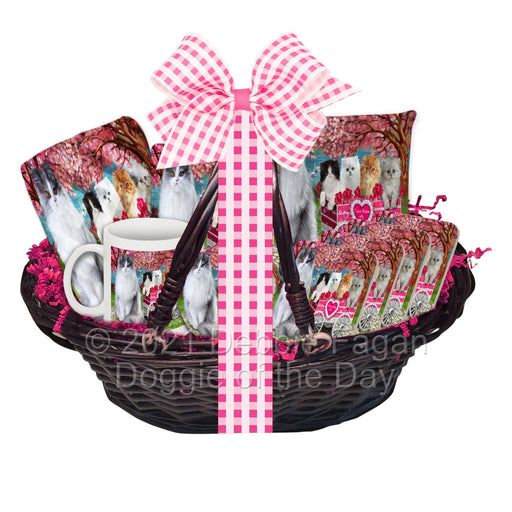 Mother's Day Gift Basket Persian Cats Blanket, Pillow, Coasters, Magnet, Coffee Mug and Ornament