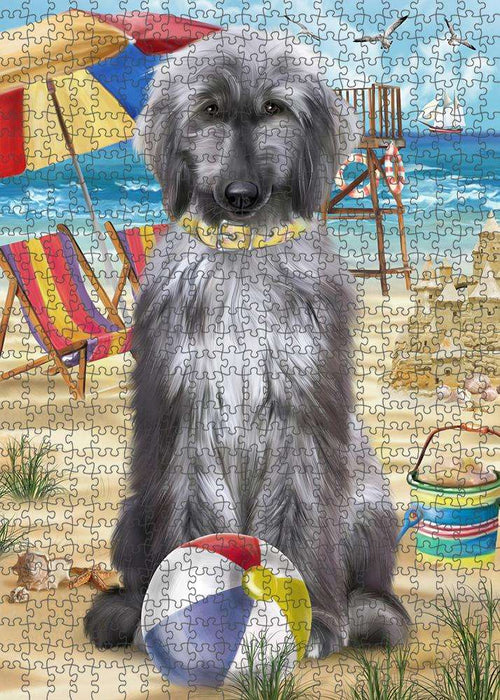 Pet Friendly Beach Afghan Hound Dog Puzzle with Photo Tin PUZL53532