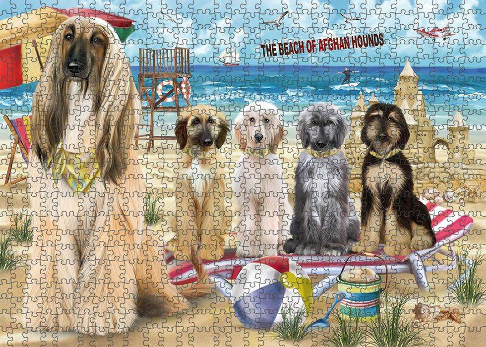 Pet Friendly Beach Afghan Hounds Dog Puzzle with Photo Tin PUZL53529