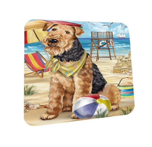 Pet Friendly Beach Airedale Terrier Dog Coasters Set of 4 CST48562