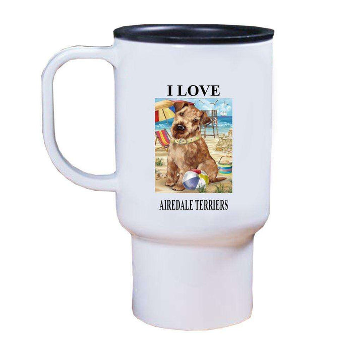 Pet Friendly Beach Airedale Terrier Dog Travel Mug TRAV48325