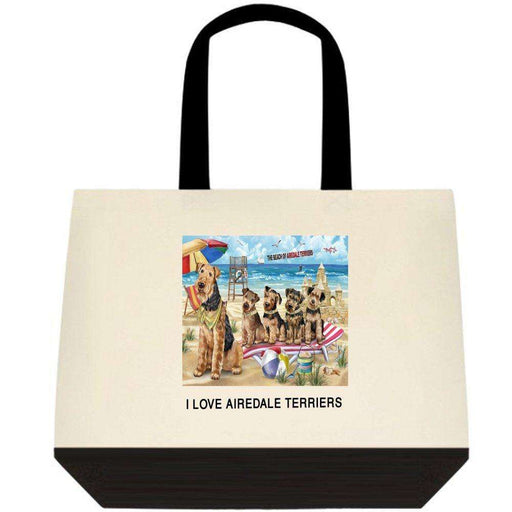 Pet Friendly Beach Airedale Terriers Dog Two-Tone Deluxe Classic Cotton Tote Bag TTT48411