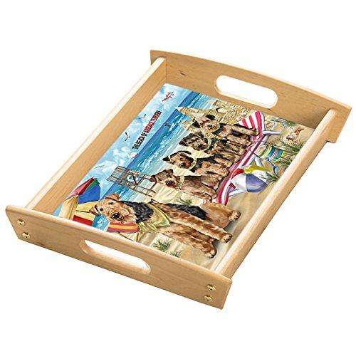 Pet Friendly Beach Airedale Terriers Dog Wood Serving Tray with Handles Natural TRA48152