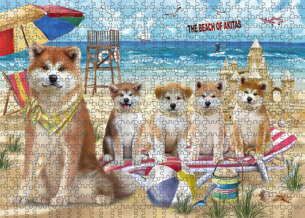 Pet Friendly Beach Akitas Dog Puzzle with Photo Tin PUZL53538