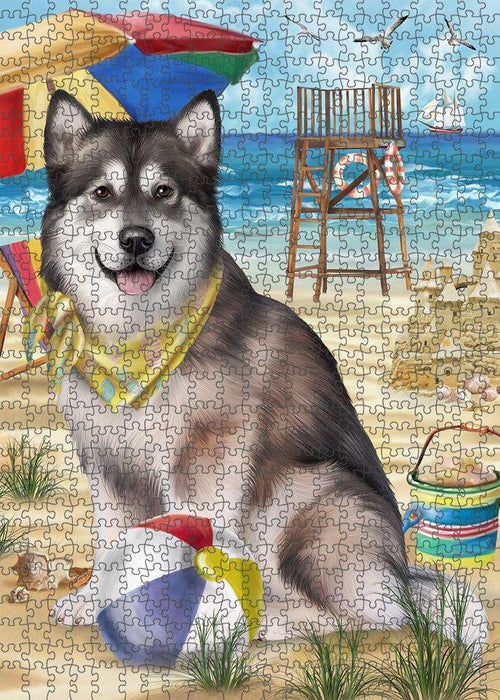 Pet Friendly Beach Alaskan Malamute Dog Puzzle with Photo Tin PUZL53571