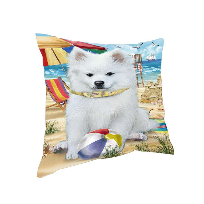 Pet Friendly Beach American Eskimo Dog Pillow PIL55688