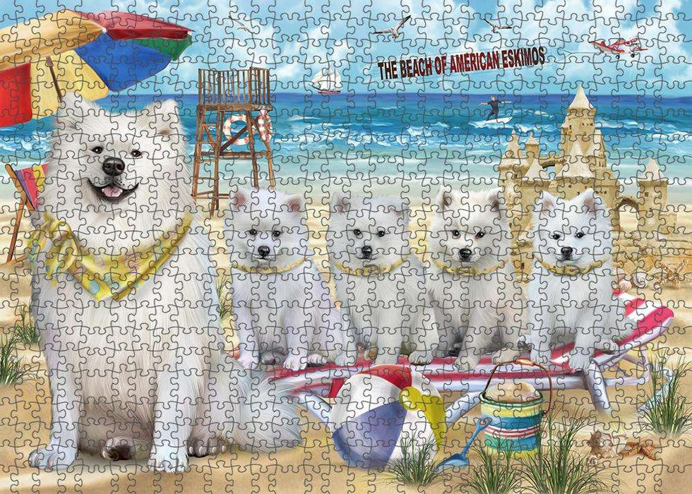 Pet Friendly Beach American Eskimos Dog Puzzle with Photo Tin PUZL53574