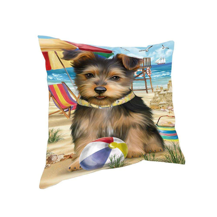 Pet Friendly Beach Australian Terrier Dog Pillow PIL55780