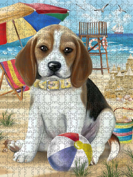 Pet Friendly Beach Beagle Dog Puzzle with Photo Tin PUZL49524