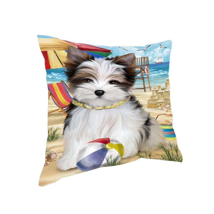 Pet Friendly Beach Biewer Terrier Dog Pillow PIL55832
