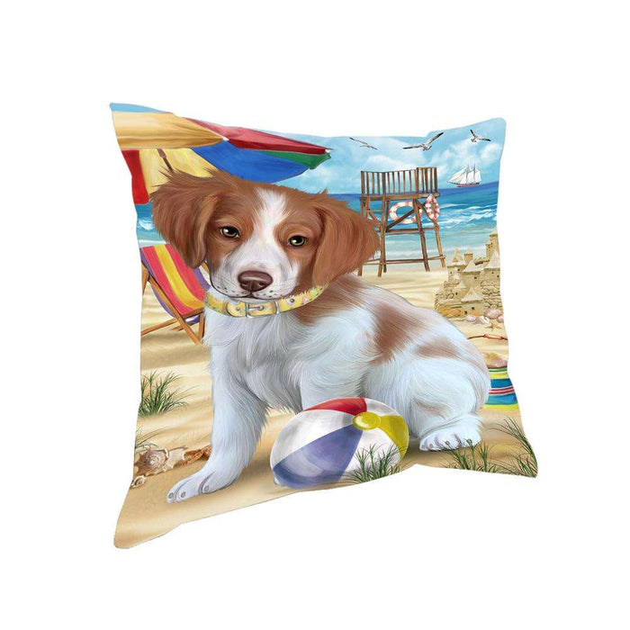 Pet Friendly Beach Brittany Spaniel Dog Pillow PIL55880