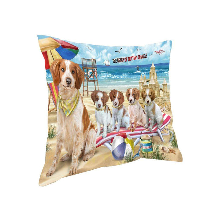 Pet Friendly Beach Brittany Spaniels Dog Pillow PIL55872